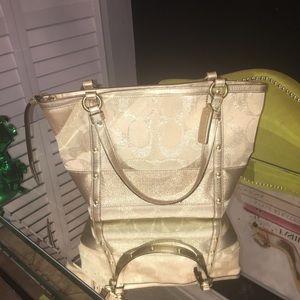 Gold coach tote bag